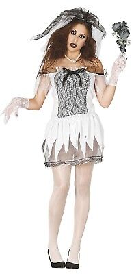 Damen Leichnam Zombiebraut Halloween Kostüm Kleid Outfit UK 8-14