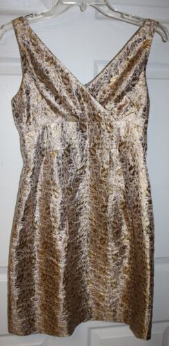 Womens Ladies Ralph Lauren Gold Floral Metallic Sleeveless Cocktail Dress Sz 2P