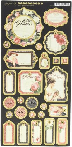 Graphic 45 G45 Mon Amour Journaling Chipboard #1 Valentine Love Wedding