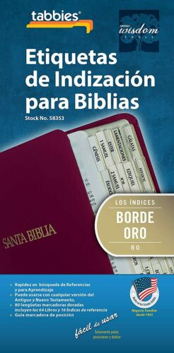 Tabbies Gold-Edged Bible Indexing Tabs Old & New Testaments 80 Tabs SPANISH