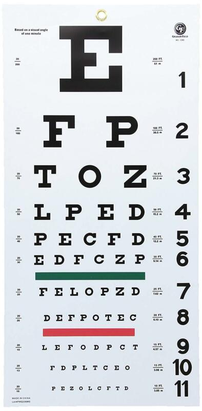 """Snellen Eye Chart Hanging 20ft. Distance Non-Reflective Matte Vision Test Exam"""