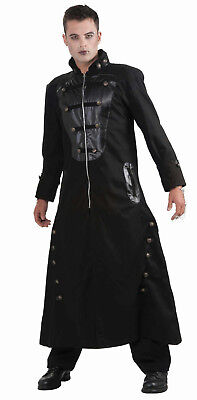 Gothic Couture Shadow Walker Vampire Adult Long Black Trench Costume Coat