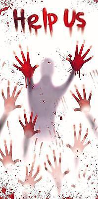 Halloween Door Cover - Bloody HELP US Sign For Outdoor Decorations 30
