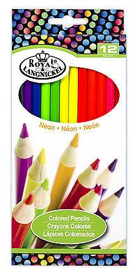 Royal Langnickel 12 pc NEON COLOR Colored Pencils Drawing Set Sketching Draw - Drawing Pencils