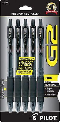 Pilot G2 Premium Gel Ink Roller Ball Pens Fine Point Black Ink 5 Ea