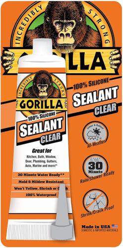 Gorilla 100 Percent Silicone Sealant Caulk, 2.8 ounce Squeez