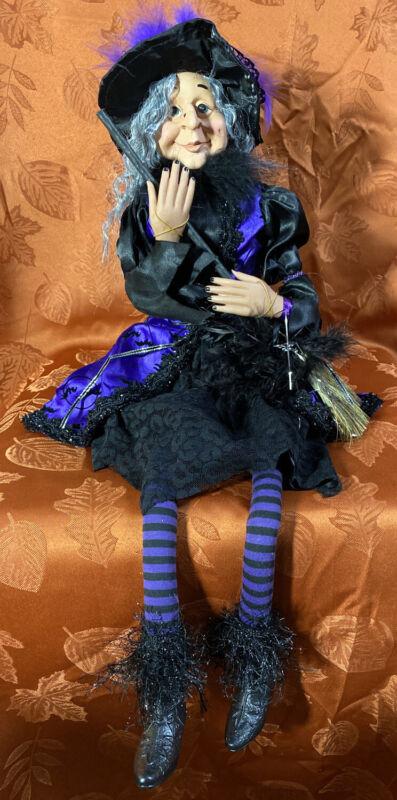 "Halloween 27"" WITCH DOLL W/BROOM Purple/Black SHELF SITTER"