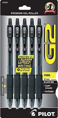 Pilot G2 Premium Gel Ink Roller Ball Pens Fine Point Black Ink 5 Ea 3pk