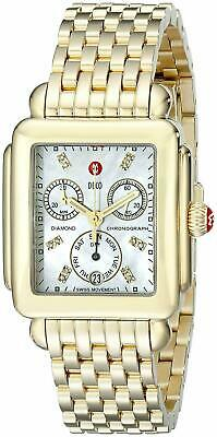 New Michele Deco Signature Diamond Dial Gold Tone MWW06P000016 Ladies Watch Signature Deco Diamond