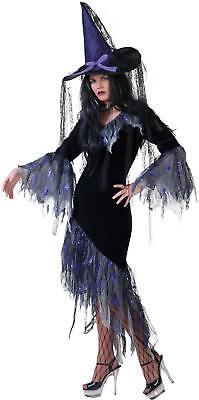 Hexe Spinnenhexe schwarz Halloween Karneval Fasching Kostüm 36-46
