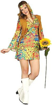 Ladies 1960s 1970s Flower Power Hippie Hippy Mod Fancy Dress Costume Outfit