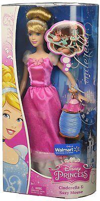 Disney Princess Cinderella Doll and Suzy Mouse Pink Exclusive Disney Princess