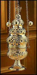 Ornate Censer with 12 Bells and Chain, 26 1/2 Inch