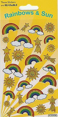 Paper Projects Rainbows & Sun Sparkle Reusable Foil Stickers Age 3 +
