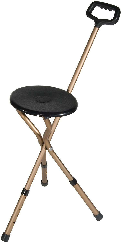 Folding Lightweight Adjustable Height Cane Seat, Bronze, Adj