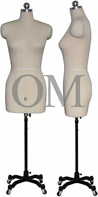 Female Sewing Dress Form Mannequin Pinnable W Magnetic Shoulders Base Size 6
