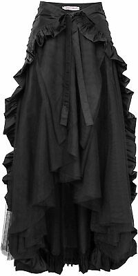 Ladie's Gothic Steampunk Clothing Skirt Lace Up Retro Victorian, Black, Size 3.0