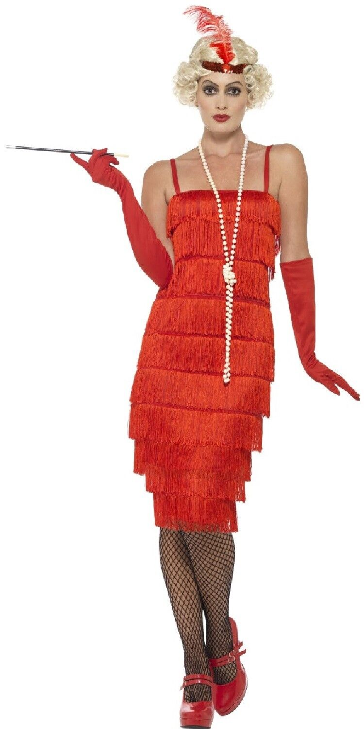 Ladies Red Knee Length 1920s Flapper Fancy Dress Costume Outfit 8 26