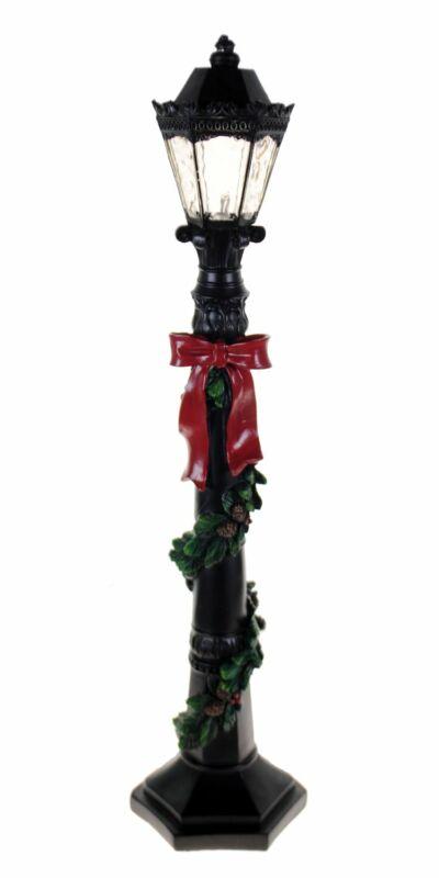 Shop4Omni Christmas 19 Inch Decorative LED Lamp Post with Ribbon - Black