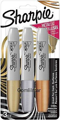 Sharpie Metallic Permanent Markers Chisel Tip Assorted Colors 3 Count Free Ship