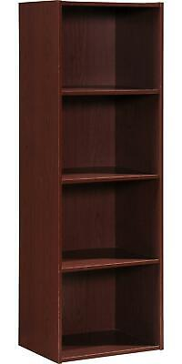 4 Shelf Bookcase Wood Sturdy Closed Back Storage Shelves Slim Bookshelf Case NEW