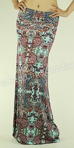 New Women Chic Paisley Multi Color Summer Boho Hippie Gypsy Long Maxi Skirt USA