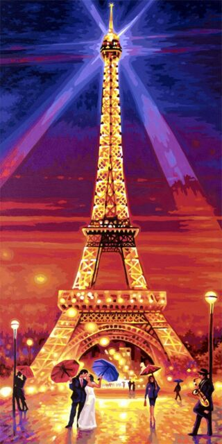Malen nach Zahlen Der Eiffelturm bei Nacht Schipper 609220716 40x80 cm Paris