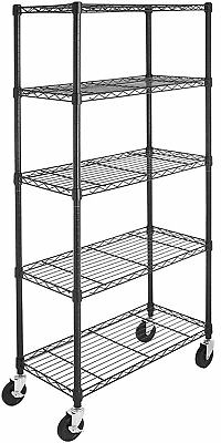 Heavy Duty Shelf Garage Steel Metal Storage 5 Level Shelves Rack With Wheels ()