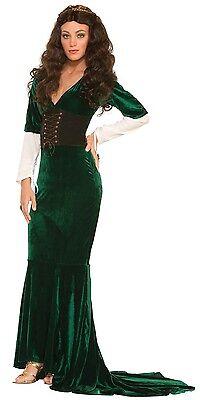 lungo da donna Verde MEDIEVALE dama Marion Rinascimento Costume vestito