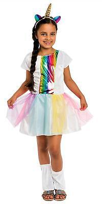 Bogen Kostüme (Regenbogen Einhorn Kostüm Kinder Mädchen inkl. Einhornkleid & Beinstulpen KS1042)