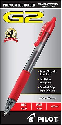 Pilot G2 Retractable Premium Gel Ink Roller Ball Pens 0.7 Red 12 Count