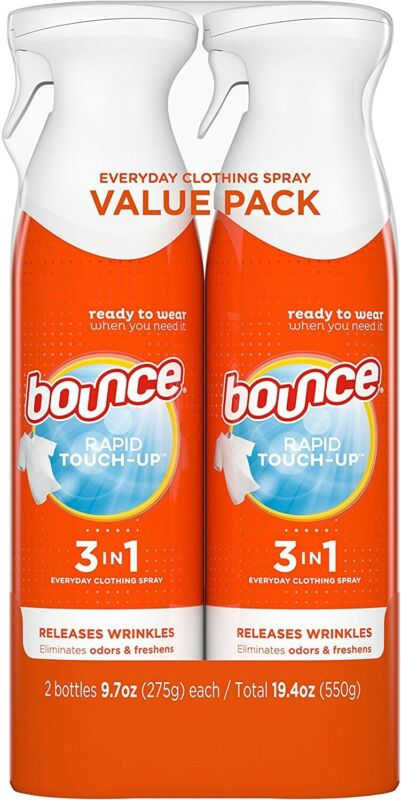 NEW Bounce Rapid Touch-Up 3 in 1 Wrinkle Release Spray, 38.8 Total Oz Pack of 2