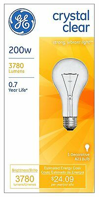NEW GE Crystal Clear 200-Watt decorative style Light Bulbs 3780 Lumens 16069 A21