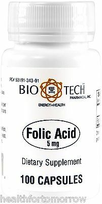 Bio Tech Folic Acid 5 Mg 100 Caps   Exp Date  06 2019