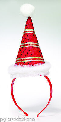CHRISTMAS MINI SANTA HAT ON HEADBAND Elf Costume Cap Adult Red Gold Stripes Joke (Headband Jokes)