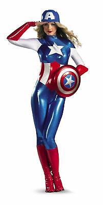 Captain America Bodysuit Costume (Disguise Marvel Captain America American Dream Bodysuit Womens Adult Costume)