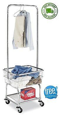 Whitmor Rolling Utility Cart - Laundry Butler Utility Cart Storage Basket Rolling Organizer Hanger Rack Hamper