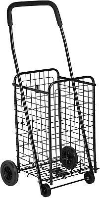 Folding Utility Cart Shopping Rolling 4-wheel Grocery Laundry Hand Truck Basket