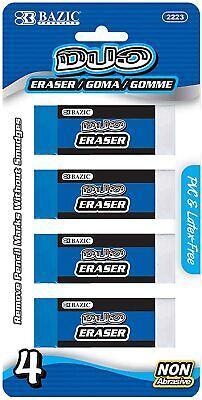 Bazic Block Two-tone Vinyl Pencil Erasers Non-abrasive 4-pack Pvc Latex-free