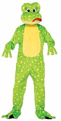 Plush Freddy the Frog Toad Suit Mask Head Animal Mascot Adult Unisex Costume