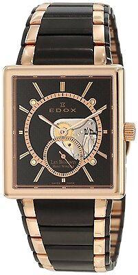 Edox Men's 72012 357RN NIR  Les Bemonts Hand Winding Black Stainless Steel Watch