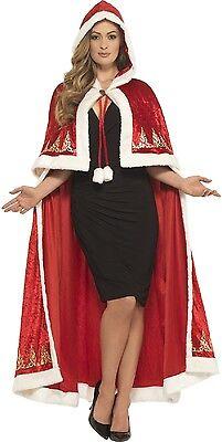 Damen lang rot Mrs Claus Weihnachten Weihnachtsmann Umhang Mantel Maskenkostüm