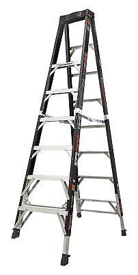 Little Giant 15778-804 Fiberglass Safe Frame 8' Ladder w/Ratchet Levelers