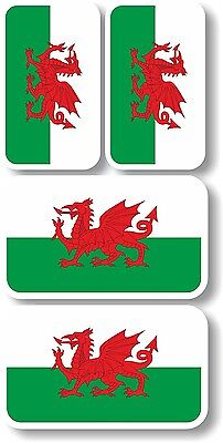 Vinyl sticker/decal Extra small 45mm & 35mm Wales flags - group of 4