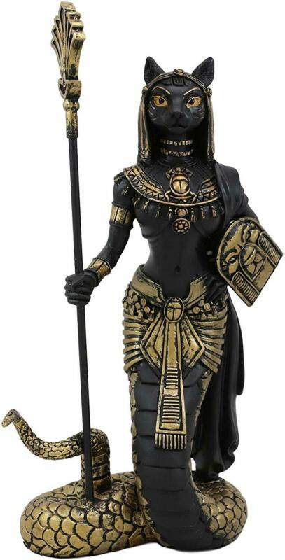 """11""""H Black Gold Egyptian Feline Goddess Bastet Cat With Snake Apep Tail Statue"""