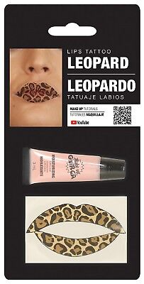 Ladies Leopard Lip Transfer Animal Halloween Make Up Fancy Dress Costume - Halloween Leopard Makeup
