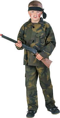 Armee Kinder Kostüme (Rambo Kämpfer Soldat Armee Tarnanzug Kinder Karneval Fasching Kostüm 116-164)