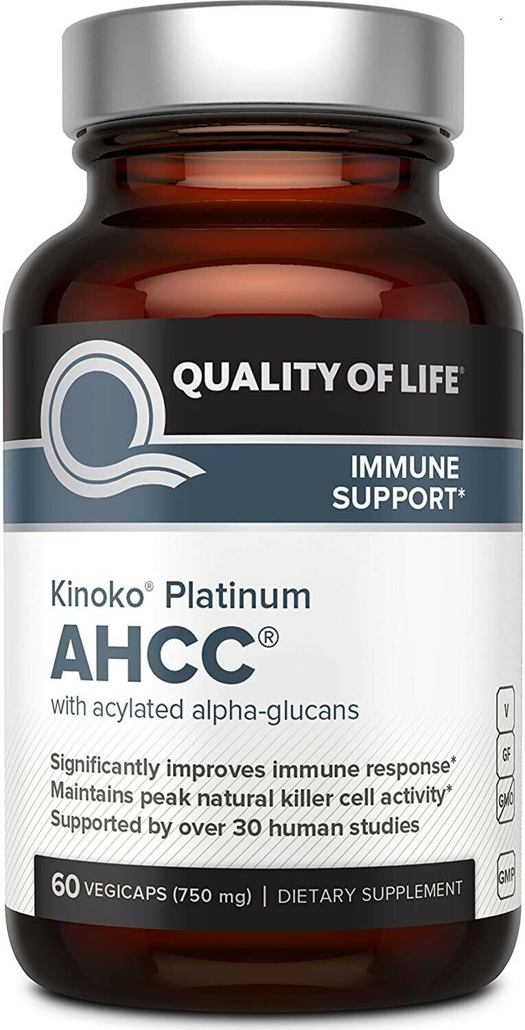 (HOT SALE) - Premium Kinoko Platinum AHCC - 750mg of AHCC per Capsule 60 Caps