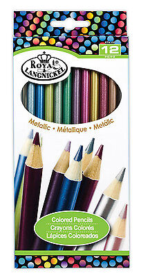 - Royal Langnickel 12 pc METALLIC COLOR Colored Pencils Drawing Set Sketching Draw