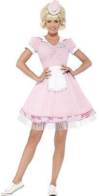 Damen 1950er Jahre 50er American Diner Mädchen TV Film Kostüm Kleid Outfit UK